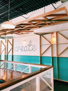 creative wall design inside restaurant