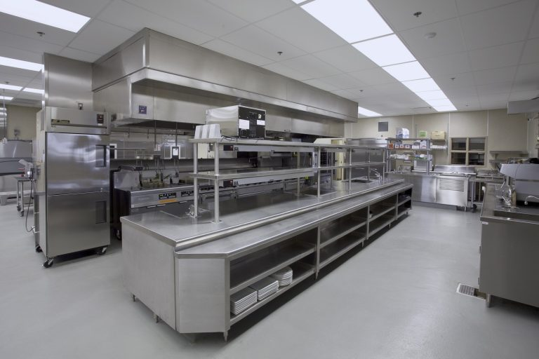 commercial kitchen with extraction systems